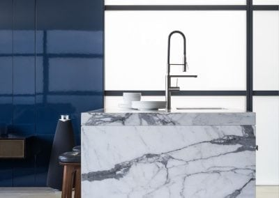 Statuario-marble-kitchen-island-waterfall