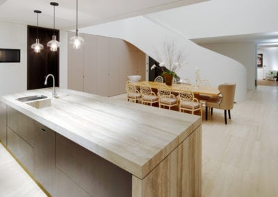 silver-travertine-kitchen-island