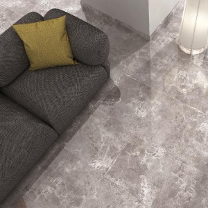 temptation grey marble effect floor tiles in living room with grey couch grande