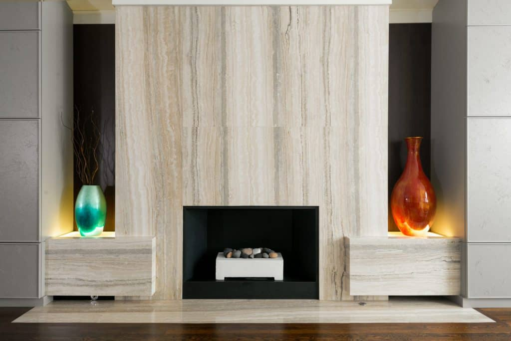 Silver Travertine fireplace 3