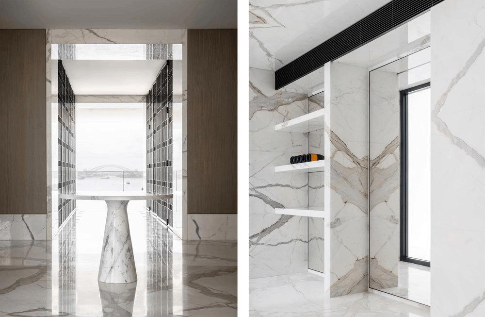 Calacatta marble cellar