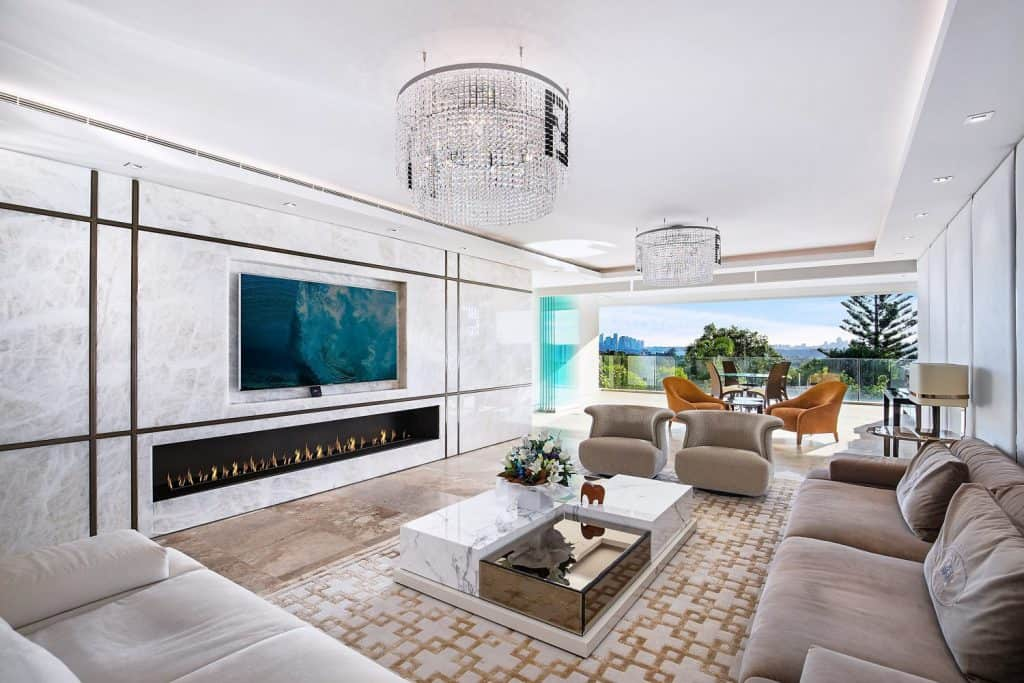 White Onyx Fireplace Wall 1