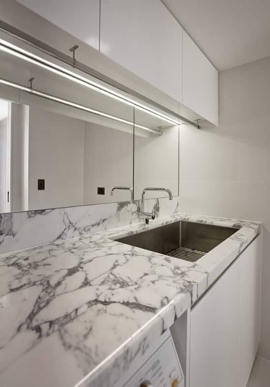 arabescato marble laundry benchtop