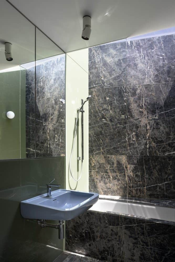 breccia nera bathroom walls