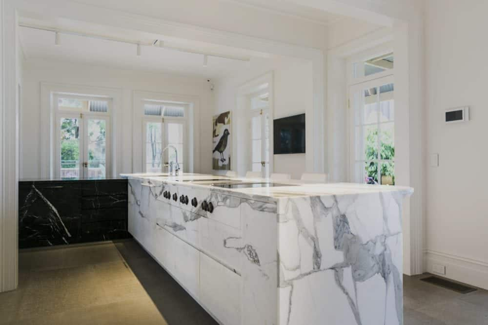 calacatta marble kitchen island