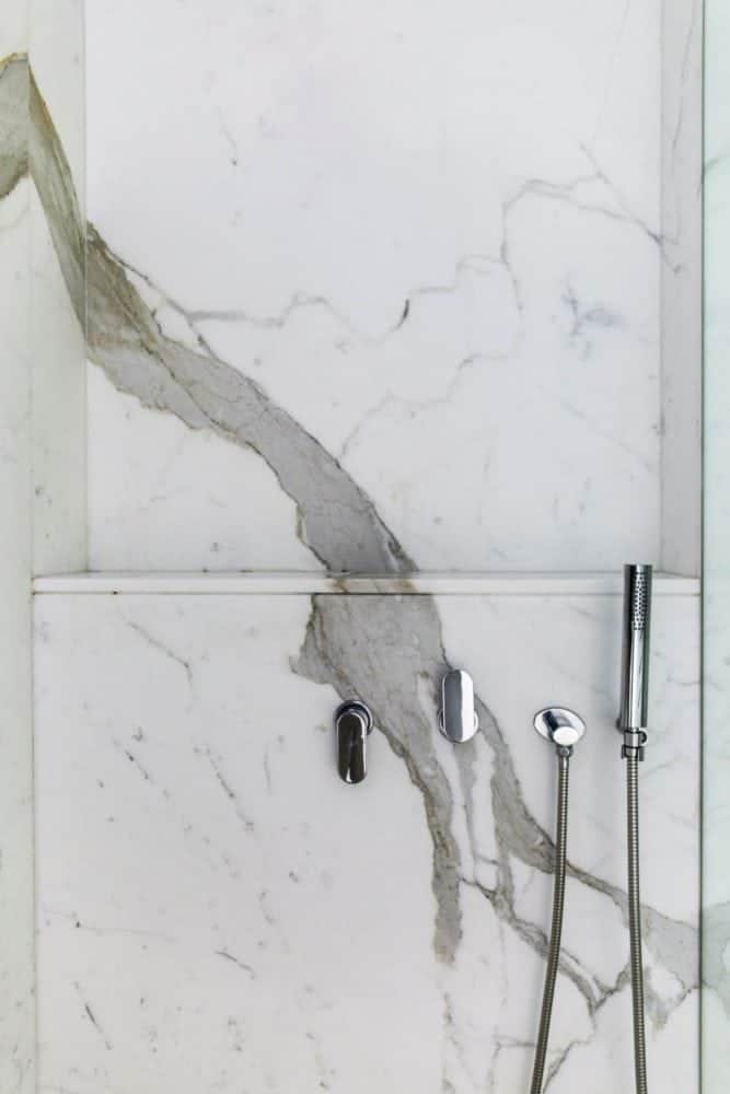calacatta marble shower wall detail