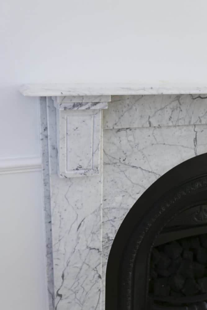 carrara marble fireplace mantle surround