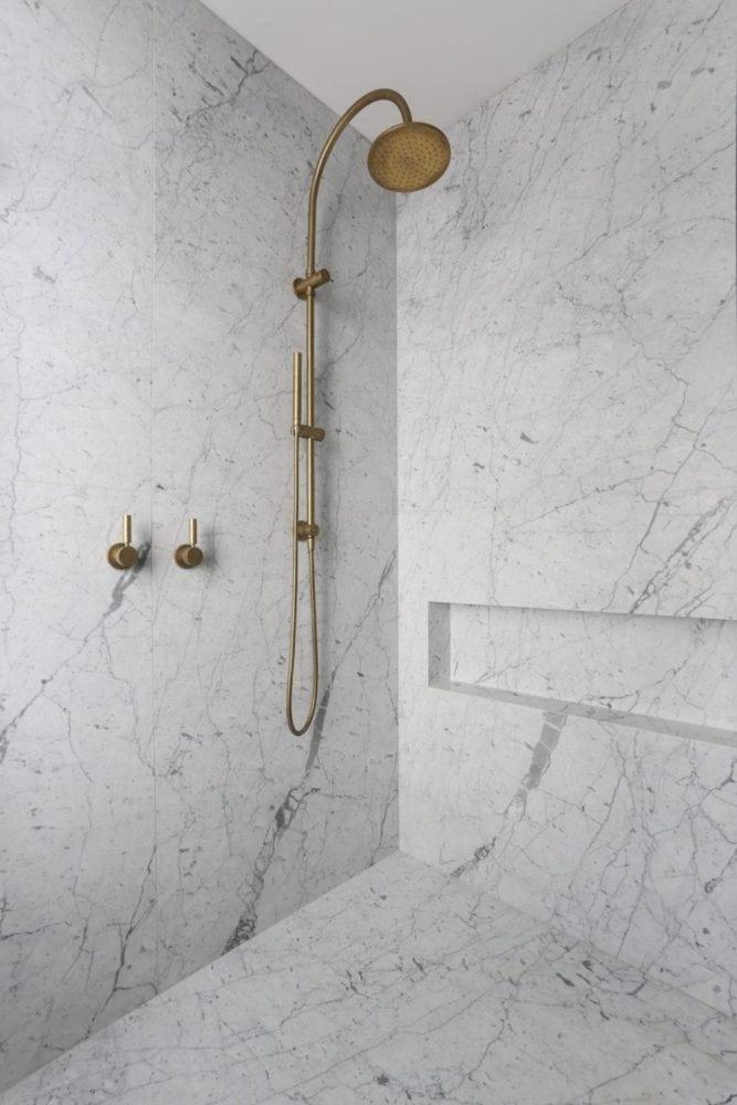carrara marble shower walls and floor