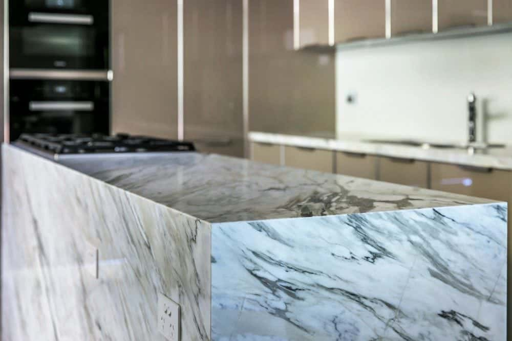 details of calacatta manhattan kitchen island