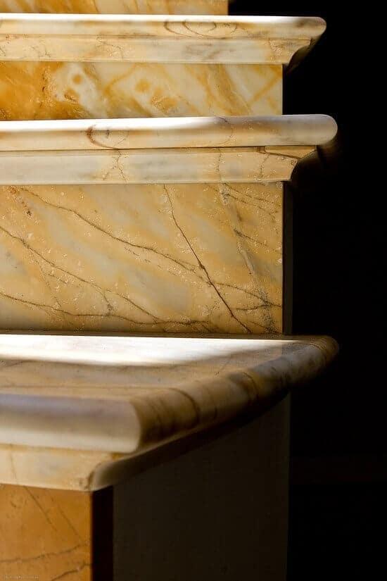 giallo sienna marble staircase