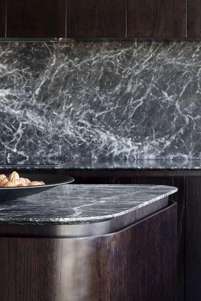 grigio perla kitchen island details