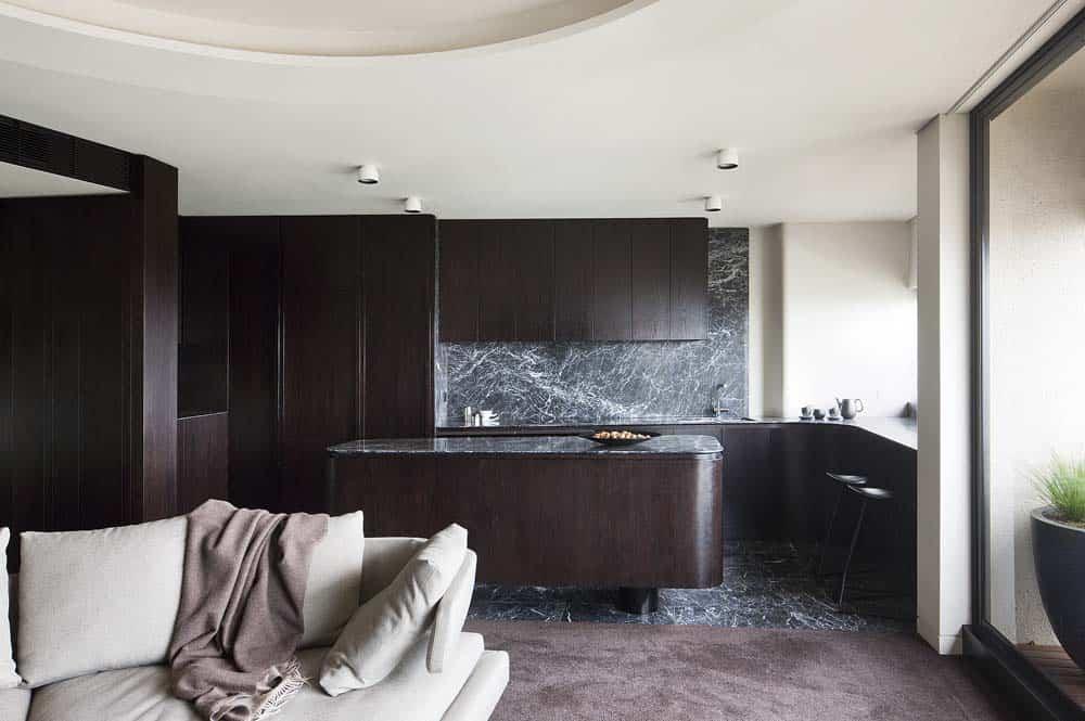 grigio perla marble kitchen island and splashback