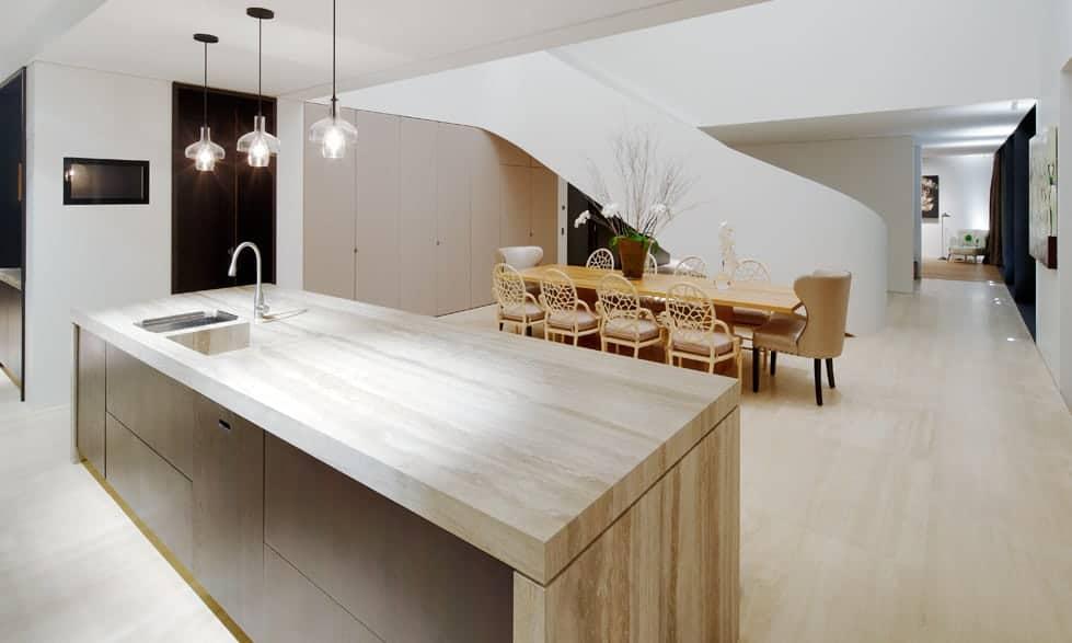 silver travertine kitchen island