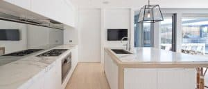statuario marble kitchen benchtop and cooktop