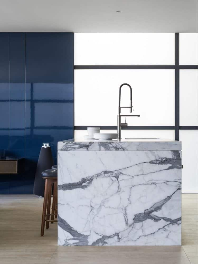 statuario marble kitchen island waterfall