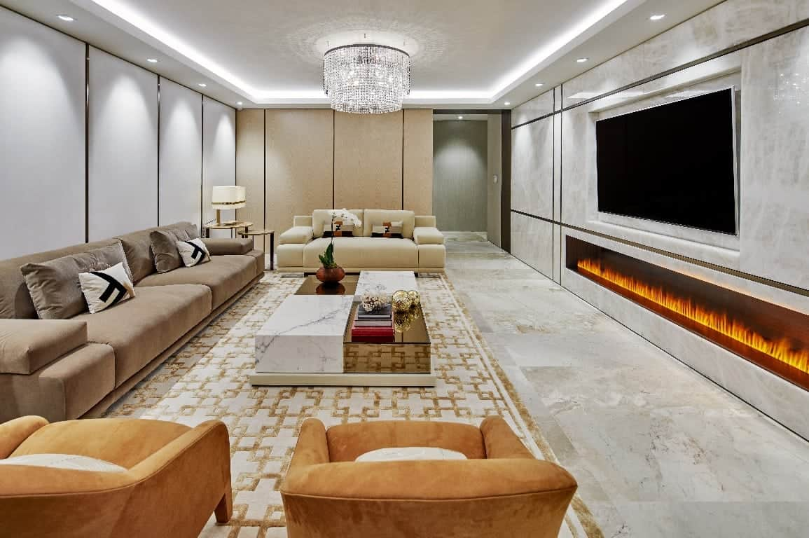 white onyx fireplace wall