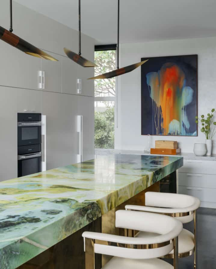 Point Piper Residence Verde Van Gogh kitchen island