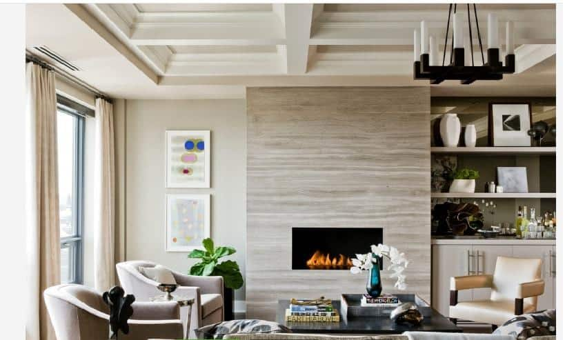 Travertine Silver Fireplace